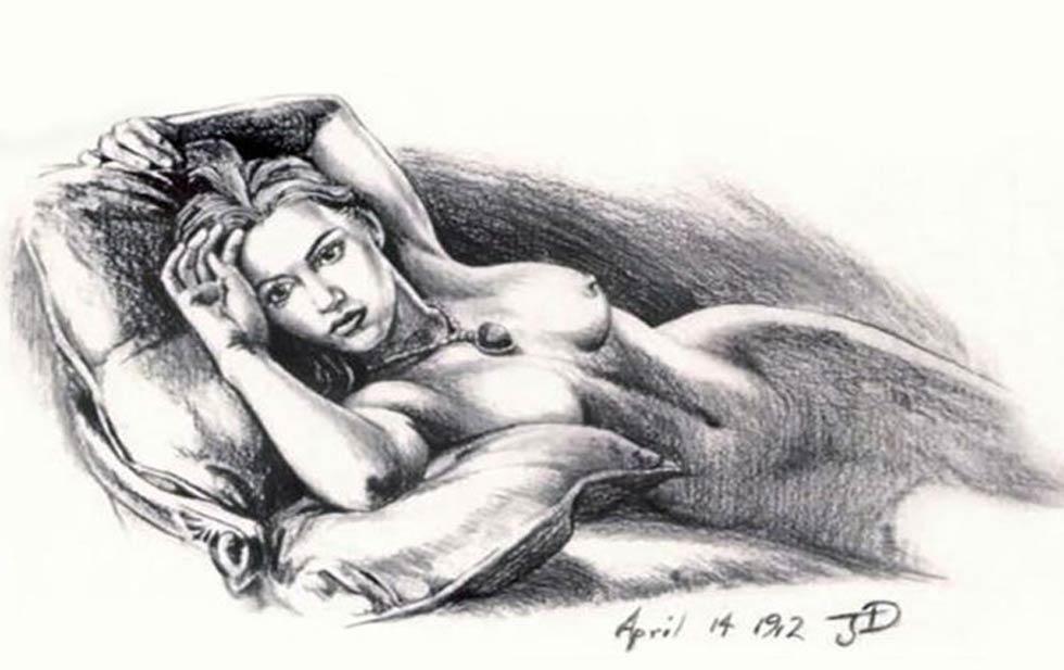 Dibujo de Kate Winslet desnuda